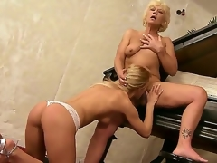 Aged music teacher Orhidea and her juvenile student cutie Bianka Enchanting licking pussies on the piano