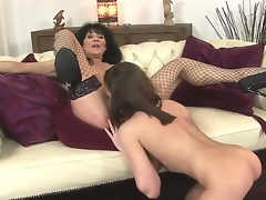 Sympathetic youthful hottie Nelly Sullivan and her experienced brunette hair milf Regina in the act