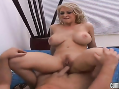 Blonde Candy Manson with big whoppers and bald bush kills time dildoing her muff pie for webcam