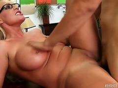 Sadie Swede is one of those uptight feminists with thick rimmed glasses, but David Loso will awaken the slut in her when he comes for an interview. Watch her go cock crazy!