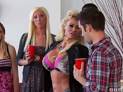 Nikita Von James crashes her daughters party dressed like a hooker and looking for some fun. That babe shamelessly seduces Keiran Lee and shows him that mommy knows best!