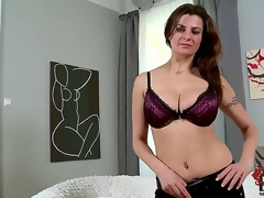 The buxom goddess comes in for her casting and wows us with her goody package. Just as admirable as a cup of coffee for our cocks 1st thing in the morning!