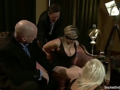 Mark Davis and Steve Holmes organize a party with their hot wives Sara Jay and Kait Snow, who are blindfolded, bound and dominated by those perverted men who double penetrate them!