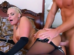Handsome charming golden-haired bombshell Phoenix Marie with large soaked tits and round jaw dropping arse in black lingerie tempted young muscled stud Johnny Castle and gets satisfied in bedroom.