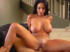 Attractive cock hungry dark haired curvy milf Ava Addams with large jaw dropping mounds and wet arse in white undies only gives head to Danny Mountain and rides on his pecker.