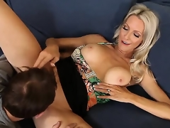 Emma Starr seduces ally of her son Joey Brass to have banging! The dude couldnt resist temptation to fuck this lady! They have oral and continue with vaginal sex.