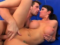 Breasty and slutty Eva Karera gets her wet crack licked by Manuel Ferrara and after that that babe sucks him off and gets his enormous weenie in her bald pussy.