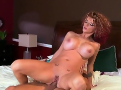 Heavy chested whorish turned on cheating milf Joslyn James with many slutty tattoos and curvy body seduce impressive guy Mick Blue gives him head and enjoys riding his hard dong