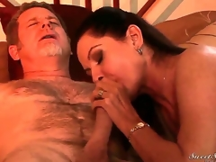 Experienced indecent dude Jay Crew gets his stiff huge cannon sucked good by lusty lengthy haired brunette milf Magdalene St. Michaels with perfect boobs and arousing lingerie in bedroom