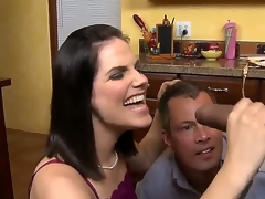 Dark haired milf with great tits in underware Bobbi Starr takes on a sexy sexy guy Sledge Hammer in the kitchen, gives him a sexy blowjob on her knees while Jimmy Broadway watches