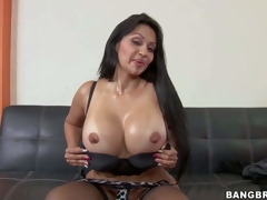Cielo is a long haired milf brunette with jaw-dropping ass and boots. Passionate sexy milf with big round ass takes off her panties and then bares her huge fake melons. Shes damn hot
