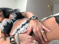 Arousing and sexy busty brunette milf Vanilla Deville in sexy dark and white underware and stockings enjoys in playing with her pussy and her alluring large love melons for webcam