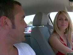 Attractive milf Angela Attison with long blond hair is a playful cougar. Lady in red flashes her billibongs in a car and turns chap on. This babe would like to have some joy with sexy Angela Attison