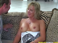 Shes one attractive tall milf blonde with slender figure. That chick gets enticed by MILF Hunter and goes topless. This woman is proud of her sexy well shaped firm tits. Dude licks her nipps juts like crazy
