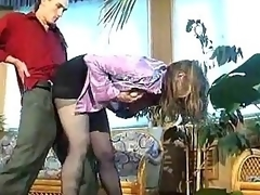 Russian floozy in darksome pantyhose banged