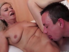 Tight older bawdy cleft sits on his shaft