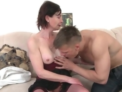 Young man arouses slutty old lady in foreplay porn