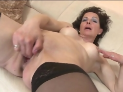 Fingering and toy fucking mature in nylons