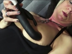 Cute old lady in leather boots masturbates
