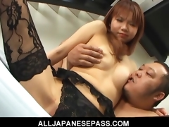 Himena Ebihara fascinating Asian playgirl receives her bald cunt licked