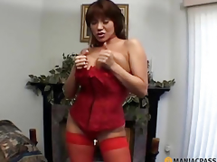 MILF with big breasts licks penis