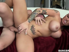 Busty tattooed cunt is riding his bone and is pounded, melons bouncing