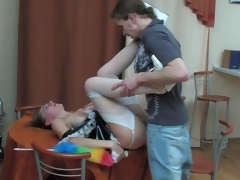 Raunchy mature French maid pulls up her skirt for frenzied fucking on table