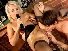 Wicked lesbo granny Marketa gets fur pie licked and dildoed by aged Leona