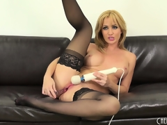 Hot blond cutie, Angela Sommers goes to town in this solo performance