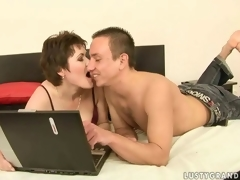 Low-spirited mature woman together with a horny dude company love