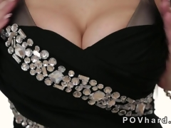 Hot blonde with well-known tits gives a blowjob POV
