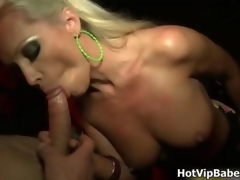 Hot blonde babe jerks and sucks