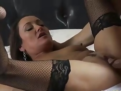 MILF Michelle Lay in darksome mesh stockings is sex hungry after  divorce. Johnny Sins is her BF and his cock is big! She blows his meat pole and then acquires her eager older muff drilled.