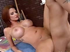 Milfy pornstar Joslyn James with red hair and biggest mangos has a good time with one of her fans who finds his hard 10-Pounder in her experienced face hole and then unfathomable inside her sexy moist pussy.