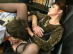 Experienced aged chick getting her ripe bawdy cleft licked and drilled hard